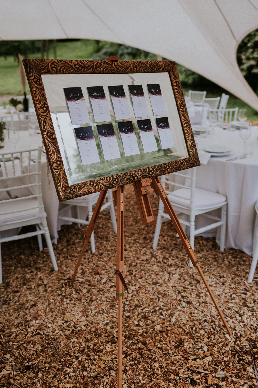 Calligraphy Watercolour Stationery Seating Plan Table Chart Mirror Frame Slovenia Wedding Bohemian Maja Tsolo Photography