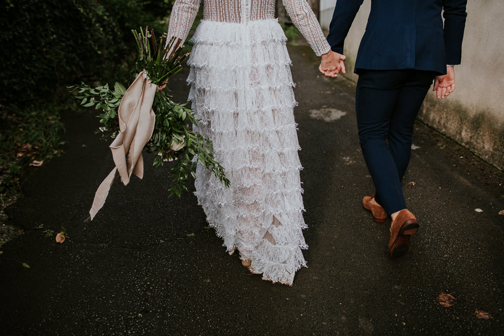 Bride Bridal Dress Gown Sleeves Ruffle Skirt Slovenia Wedding Bohemian Maja Tsolo Photography