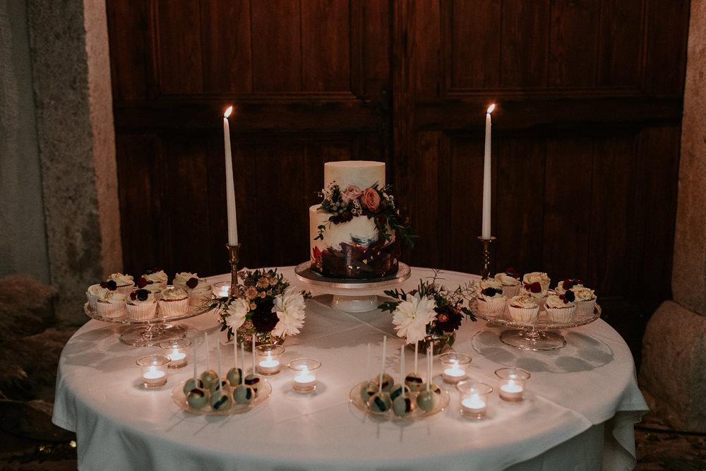 Cake Table Flowers Candles Slovenia Wedding Bohemian Maja Tsolo Photography