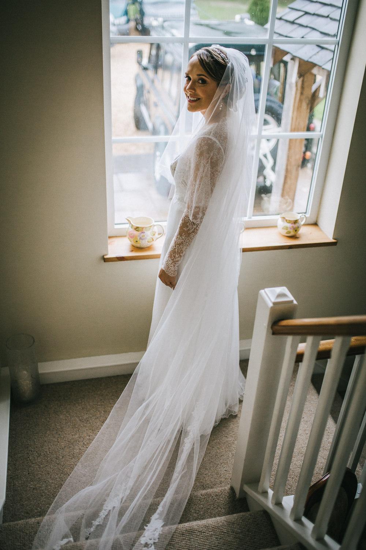 Dress Gown Bride Bridal Long Sleeves Tulle Skirt Train Tipi Garden Wedding Amy Jordison Photography