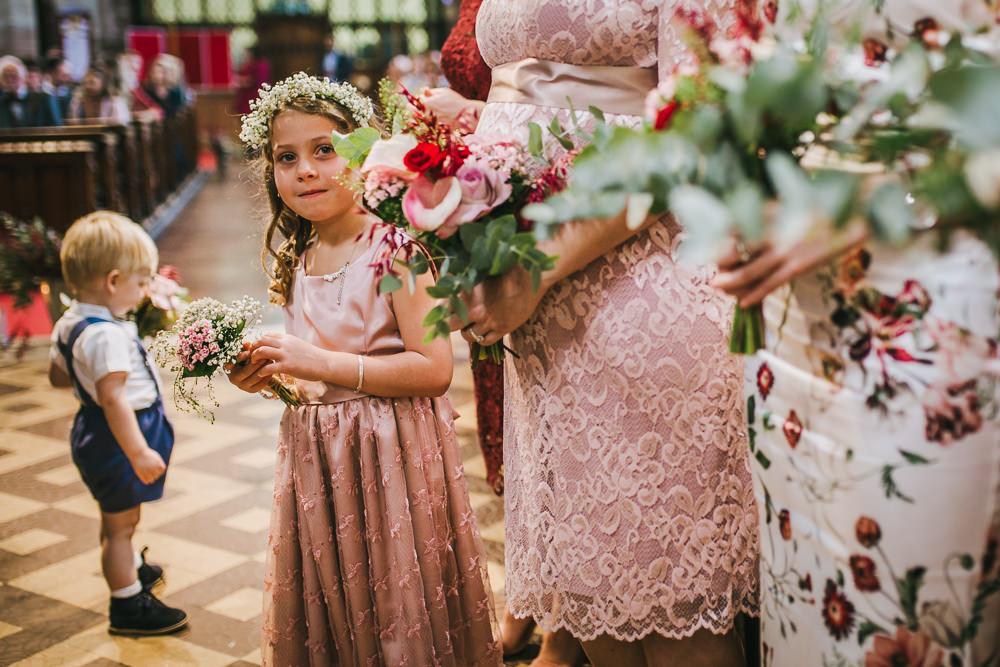 Flower Girl Pink Dress Tipi Garden Wedding Amy Jordison Photography