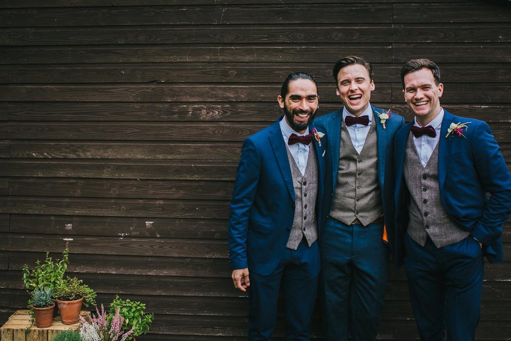 Groom Suit Blue Grey Waistcoat Red Bow Tie Groomsmen Tipi Garden Wedding Amy Jordison Photography