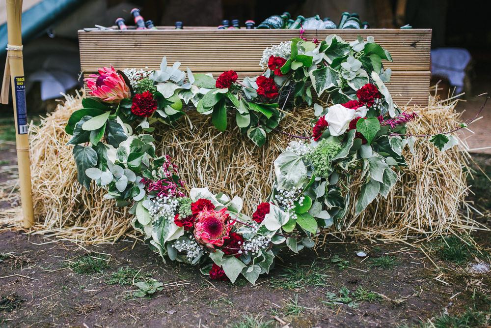 Flowers Eucalyptus Lily Gypsophila Heart Wreath Tipi Garden Wedding Amy Jordison Photography