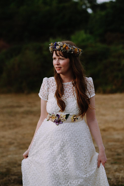 Bride Bridal Dress Gown E & W Couture Lace Sleeves Train Floral Belt Boho Festival Wedding Matt Bowen Photography