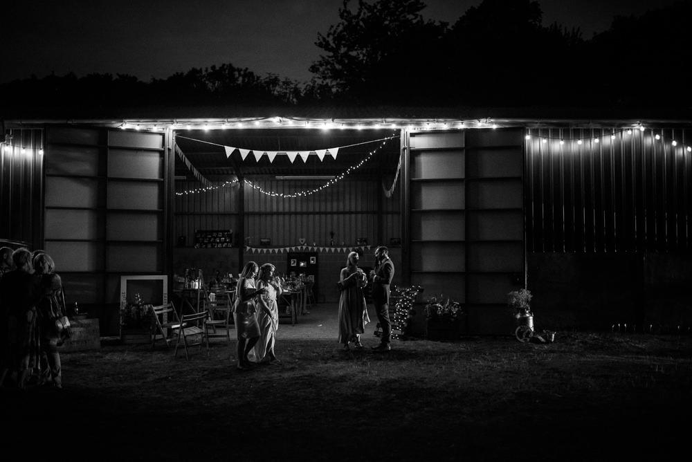 Barn Fairy Lights Boho Festival Wedding Matt Bowen Photography