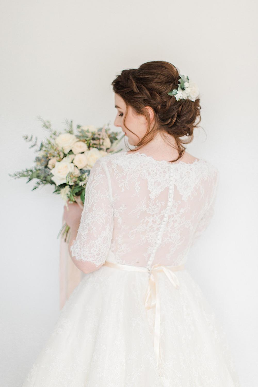 Dress Gown Bride Bridal Lace Tea Length Short Sleeves Button Back Chiltern Open Air Museum Wedding Terri & Lori Fine Art Photography