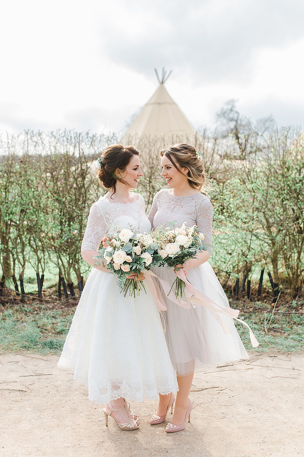 Mauve Pink Two Piece Lace Sleeves Bridesmaid Dress Dresses Chiltern Open Air Museum Wedding Terri & Lori Fine Art Photography