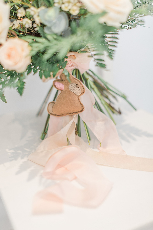 Bouquet Flowers Bride Bridal Silk Ribbon Blush Pink Peach Rose Eucalyptus Fern Rabbit Charm Chiltern Open Air Museum Wedding Terri & Lori Fine Art Photography