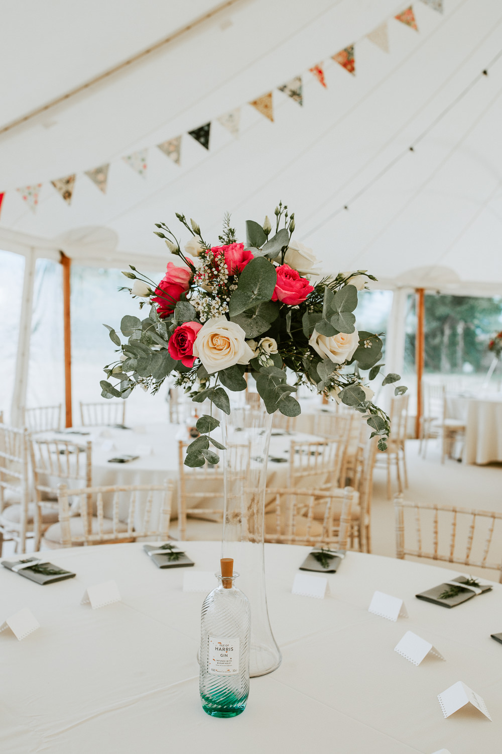 Table Centrepiece Tall Flowers Greenery Foliage Red Rose City Cathedral Country Marquee Wedding Siobhan Beales Photography