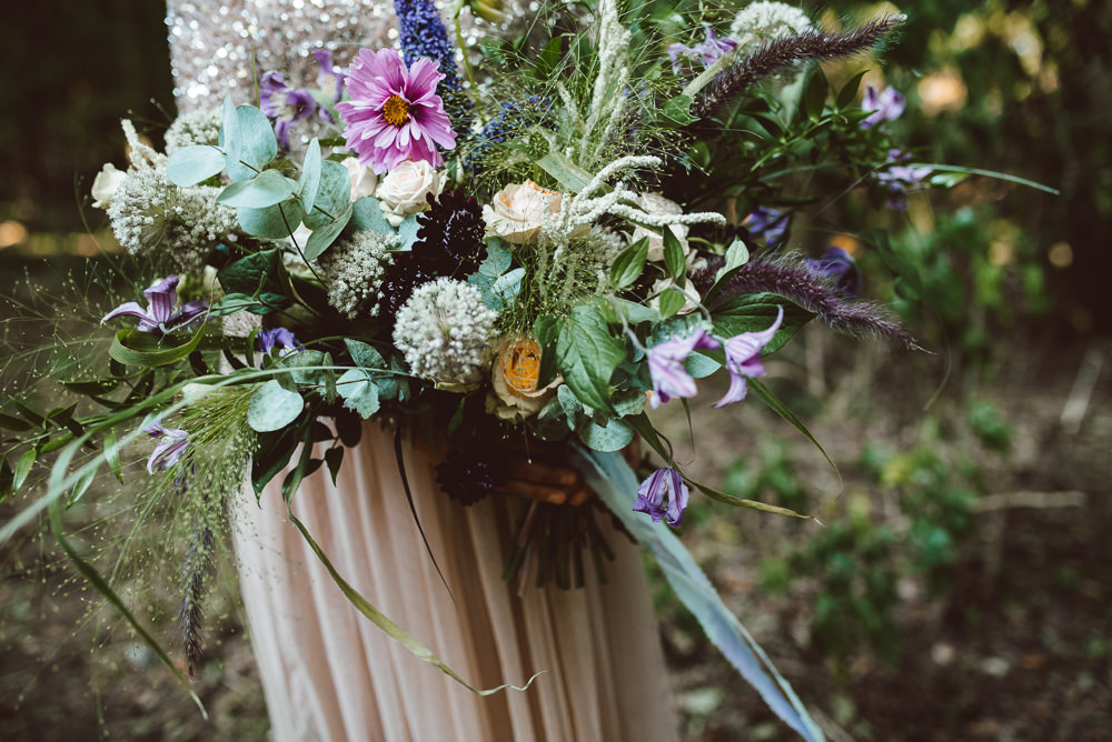 Flowers Bouquet Bride Bridal Pink Purple Rose Greenery Foliage Wild Natural Ribbon Ethereal Magical Golden Hour Wedding Ideas Dhw Photography