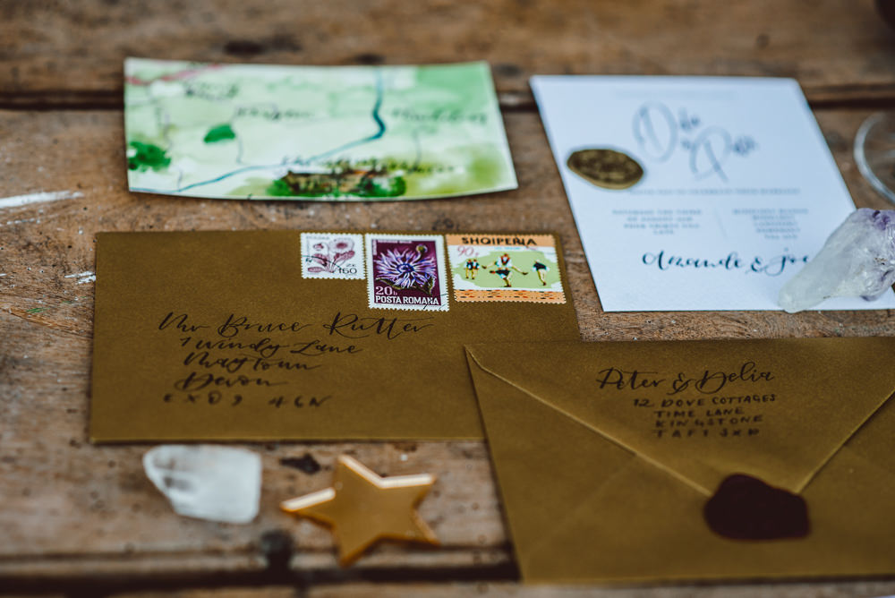 Stationery Suite Gold Wax Seal Envelope Watercolour Calligraphy Invites Invitations Stamps Ethereal Magical Golden Hour Wedding Ideas Dhw Photography