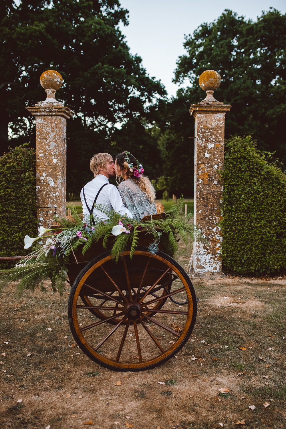 Carriage Flowers Transport Ethereal Magical Golden Hour Wedding Ideas Dhw Photography