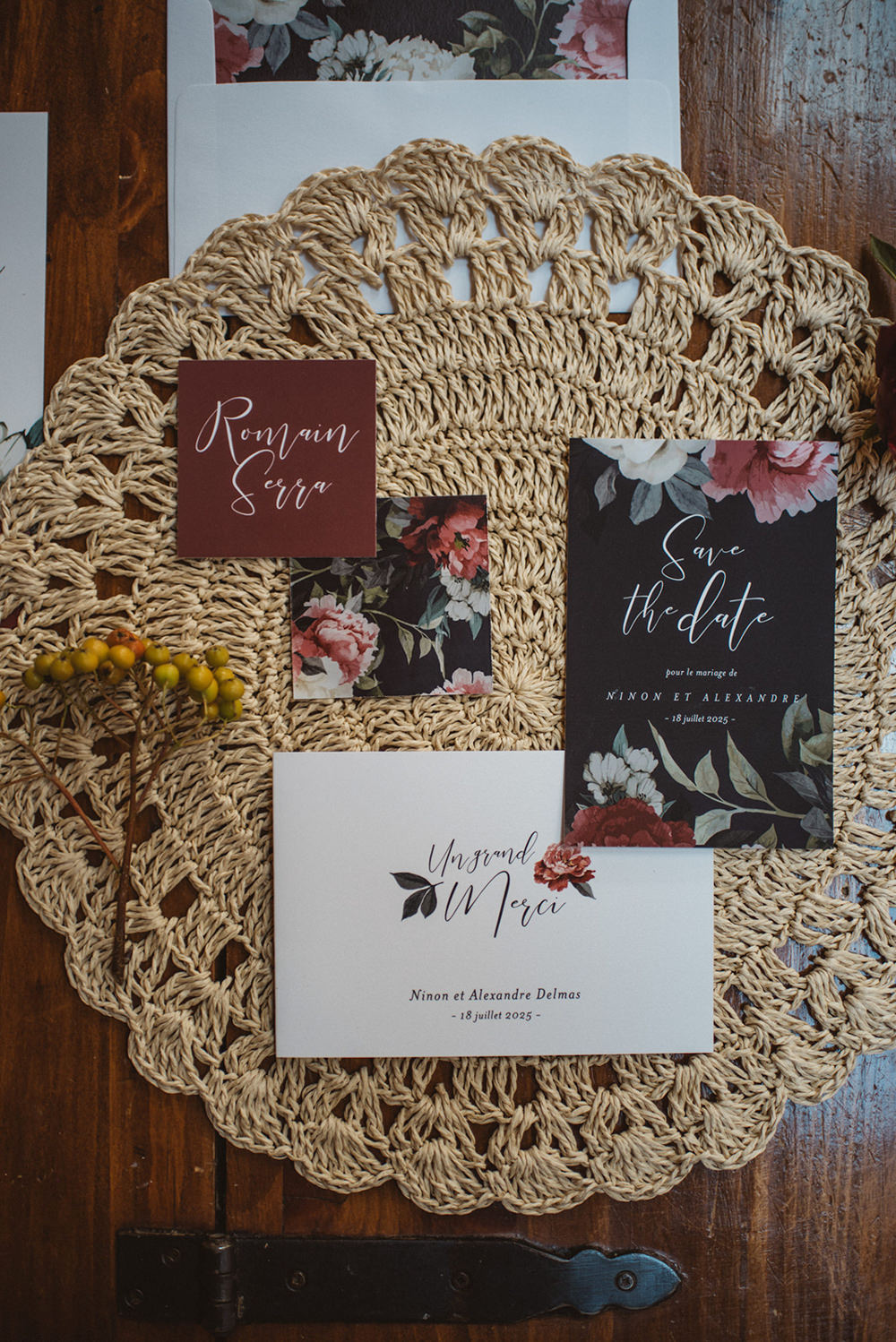 Stationery Suite Flat Lay Invite Invitations Red Black Floral Calligraphy French Alps Folk Boho Mountain Wedding Ideas Katja & Simon Photography