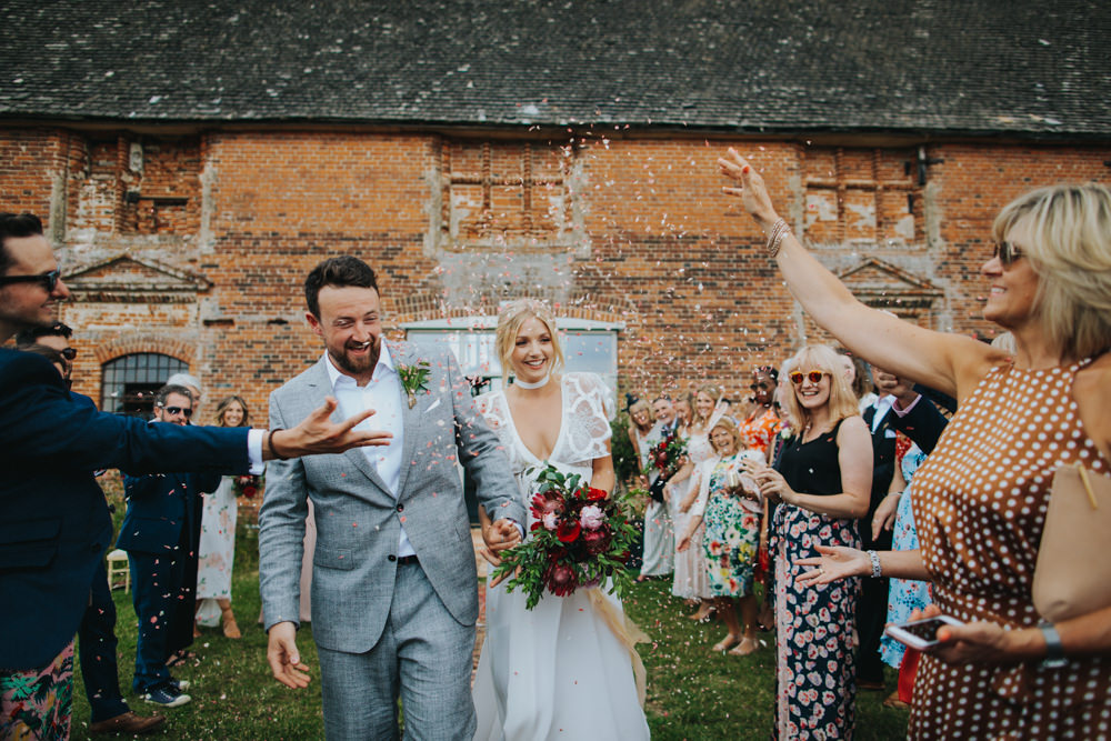 Confetti Throw Godwick Great Barn Wedding Joshua Patrick Photography