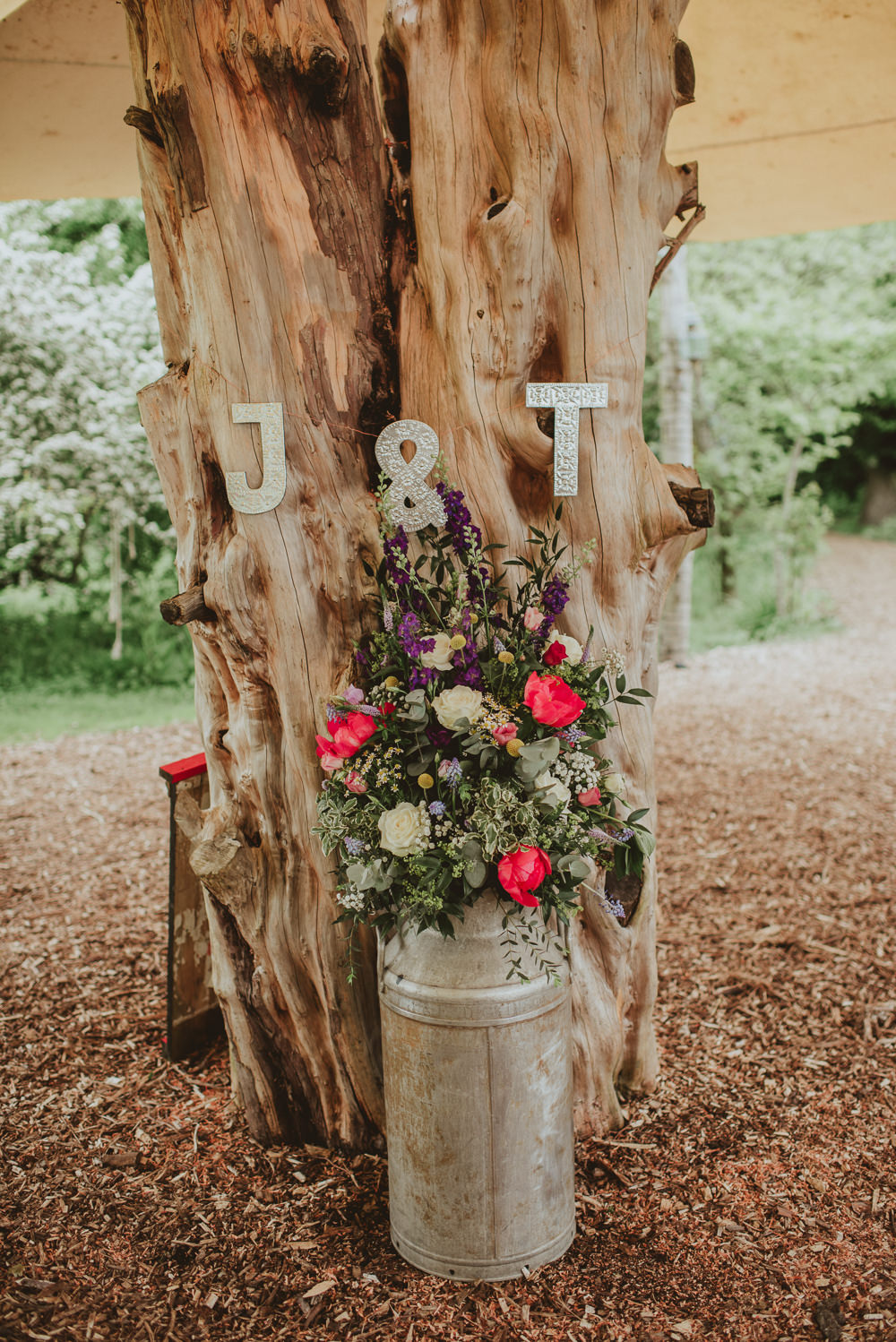 Milk Churn Flowers Colourful Peony Rose Plush Tents Glamping Wedding Big Bouquet Photography