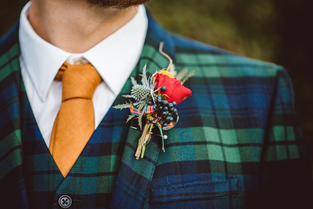 Green Check Tartan Suit Orange Tie Groom Groomsman Buttonhole Flowers Thistle Rustic Christmas Wedding Ideas Dhw Photography
