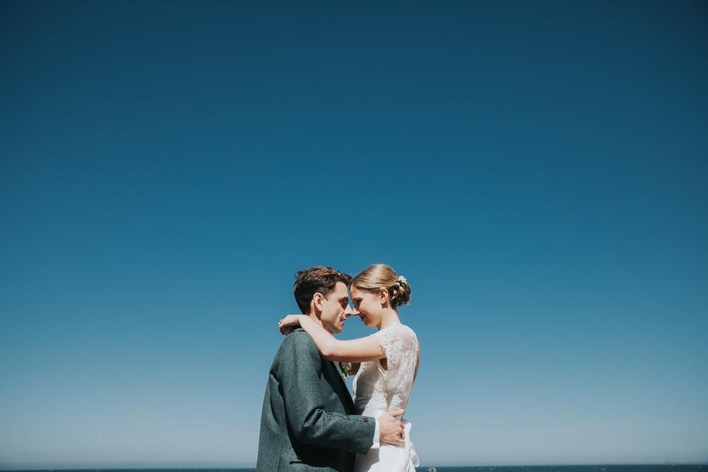 Bride Bridal Fitted Dress Silk Lace Overlay Kilt Groom Strawberry Barn Wedding Jen Owens Images