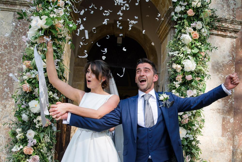 Bride Bridal A Line Dress Straps Sleeveless Silk Boat Neck Neck Blue Suit Groom Veil Confetti Babington House Wedding Ria Mishaal Photography