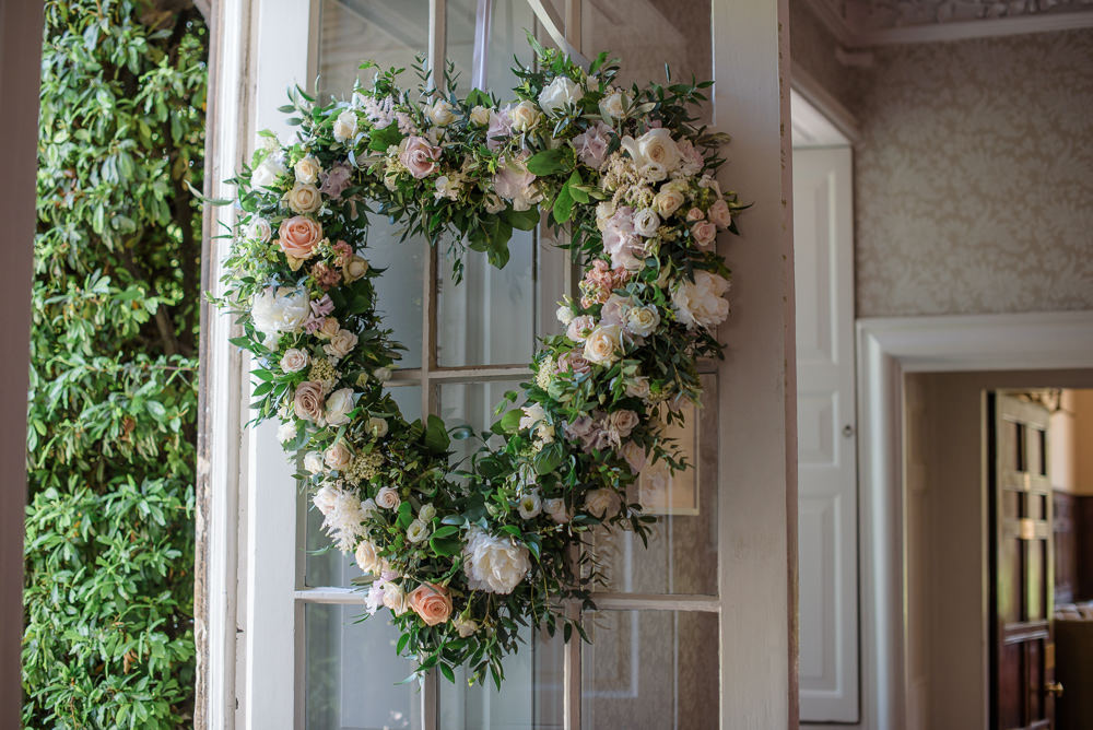 Hanging Heart Floral Flowers Babington House Wedding Ria Mishaal Photography