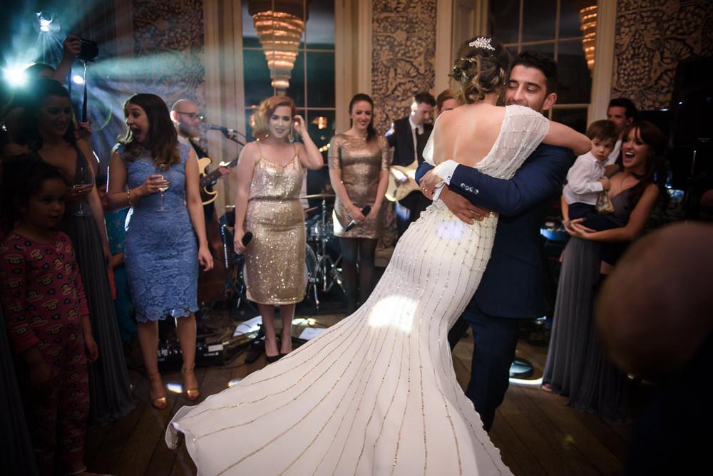 Bride Bridal Embellished Beaded Dress Gown Backless Dance Babington House Wedding Ria Mishaal Photography
