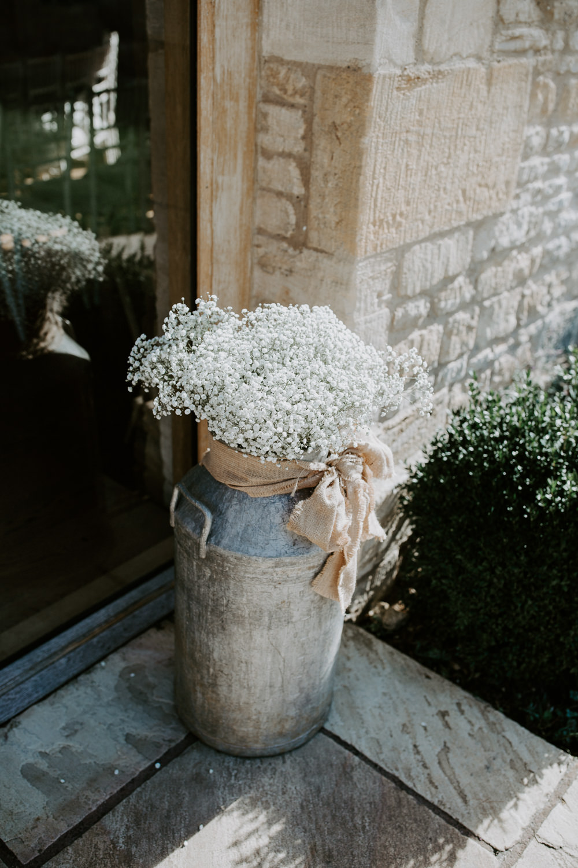 Mil Churn Flowers Gypsophila Barn Upcote Wedding Siobhan Beales Photography