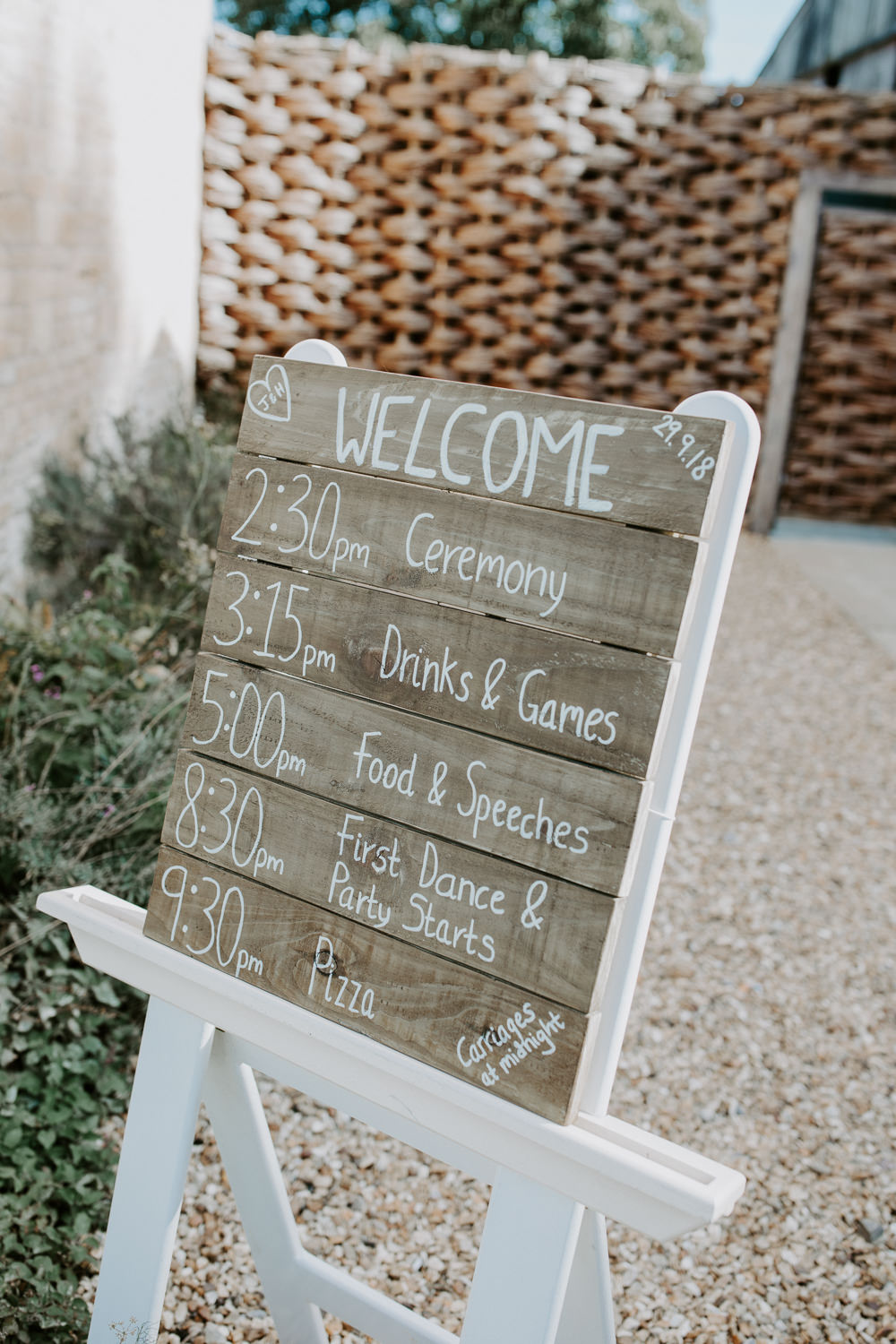 Wooden Sign Signage Calligraphy Lettering Barn Upcote Wedding Siobhan Beales Photography