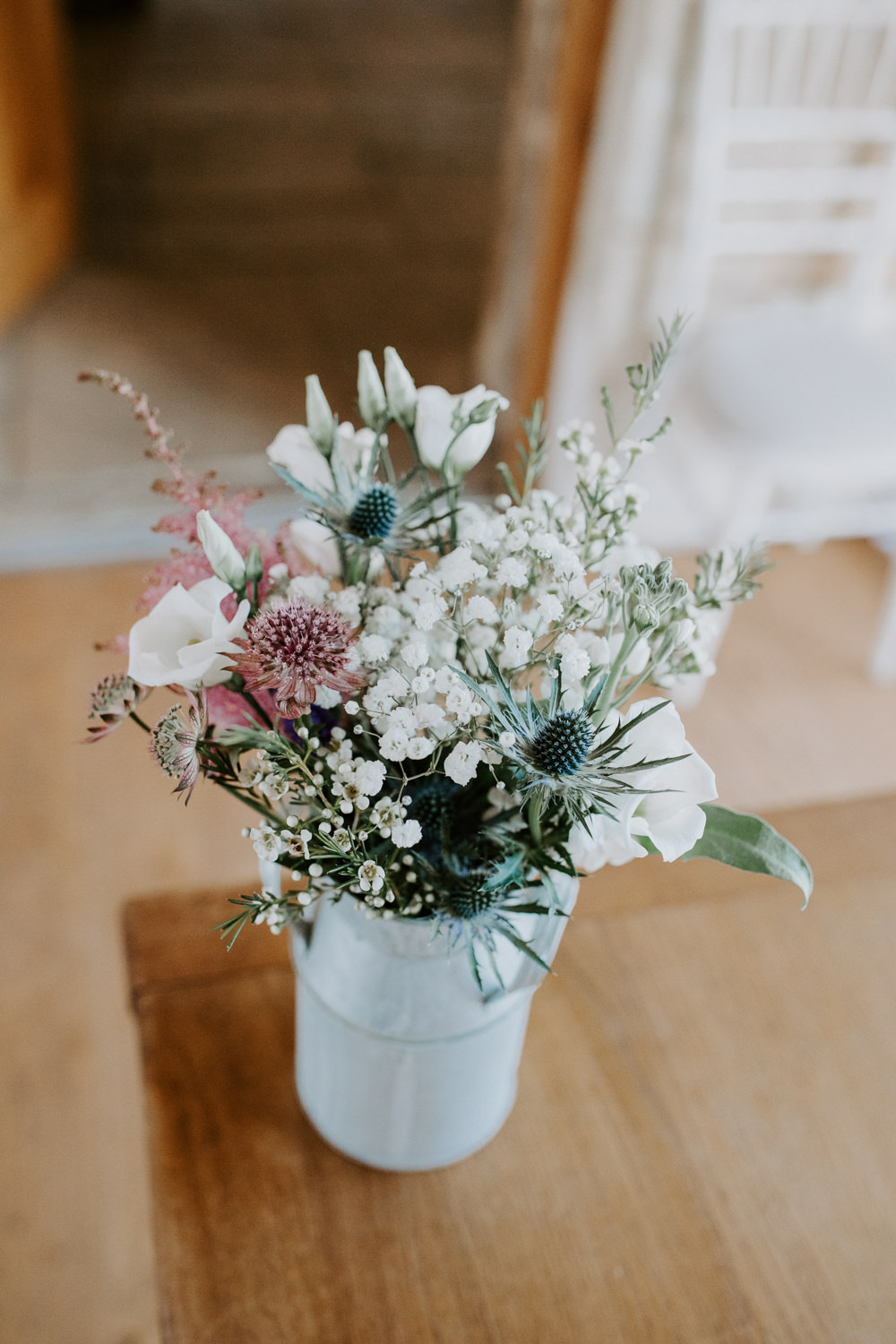 Flowers Watering Can Pink Grenery Thisle Astilbe Barn Upcote Wedding Siobhan Beales Photography