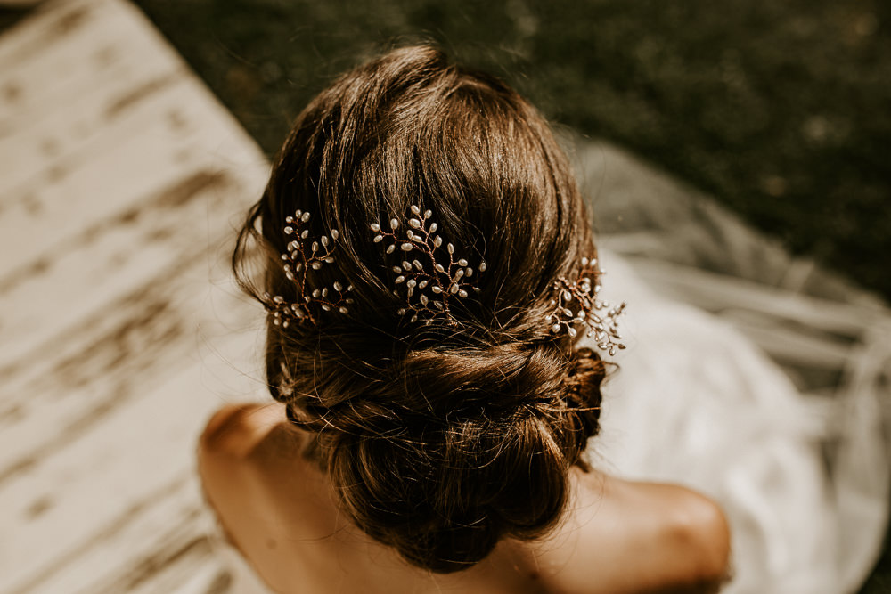 Hair Bride Bridal Style Up Do Accessory Blue Rich Romantic Wedding Ideas Daze of Glory Photography Catherine Spiller Photography