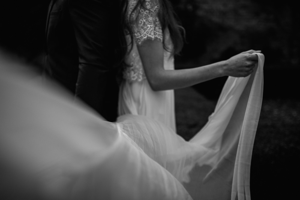 Dress Bride Bridal Gown Tulle Skirt Short Sleeves Blue Rich Romantic Wedding Ideas Daze of Glory Photography Catherine Spiller Photography
