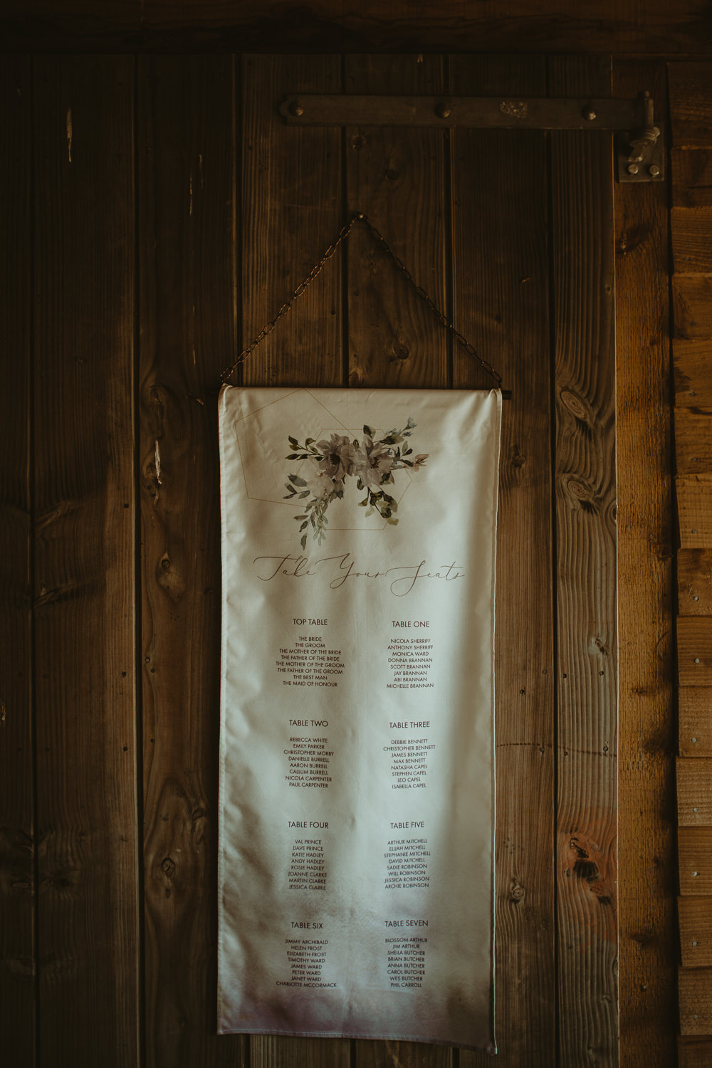 Fabric Banner Seating Plan Table Chart Calligraphy Blue Rich Romantic Wedding Ideas Daze of Glory Photography Catherine Spiller Photography