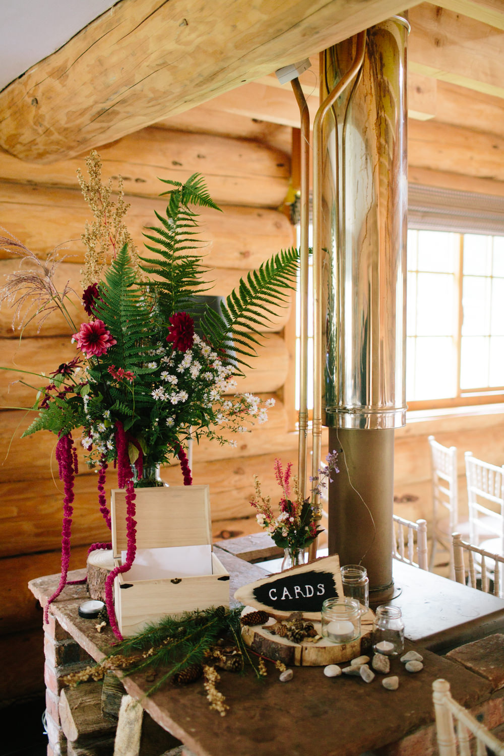 Card Table Rustic Flowers Sign Wooden Box Hidden River Cabins Wedding Dan Hough Photo