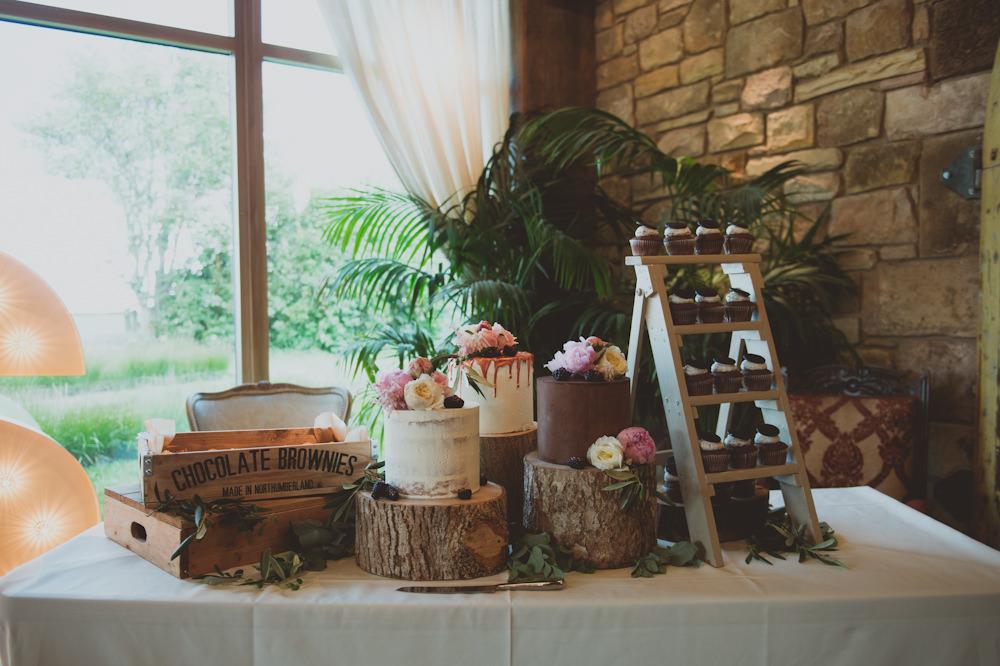 Dessert Table Cakes Logs Newton Hall Wedding Sasha Weddings