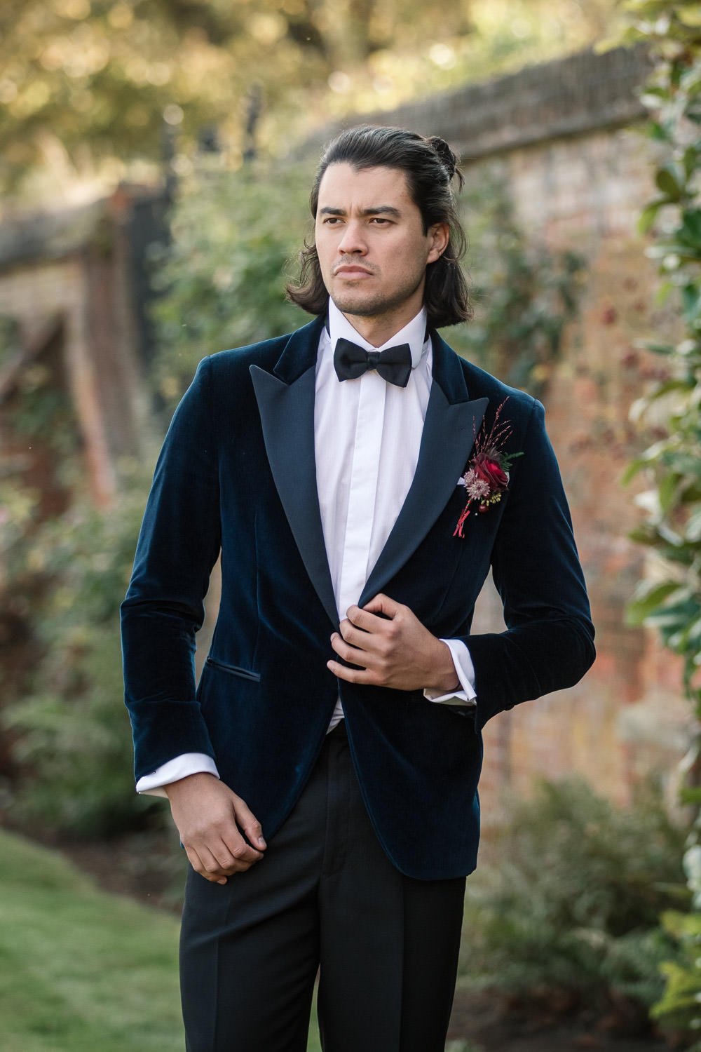 Groom Suit Velvet Jacket Bow Tie Winter Luxe Wedding Ideas Becky Harley Photography