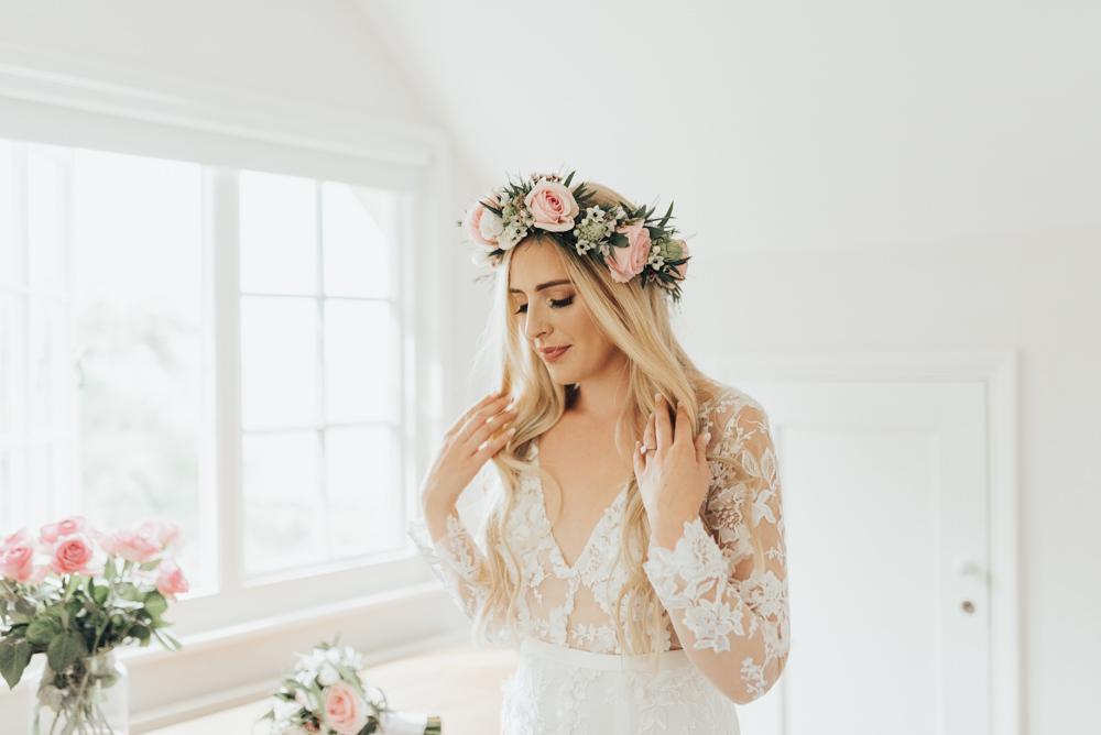 Bride Bridal Flower Crown Pink Rose Hair Loose Waves Make Up Beacon House Wedding Elopement Rebecca Carpenter Photography