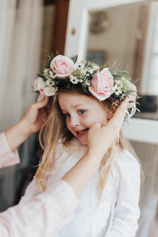 Flower Girl Flower Crown Floral Rose Halo Beacon House Wedding Elopement Rebecca Carpenter Photography