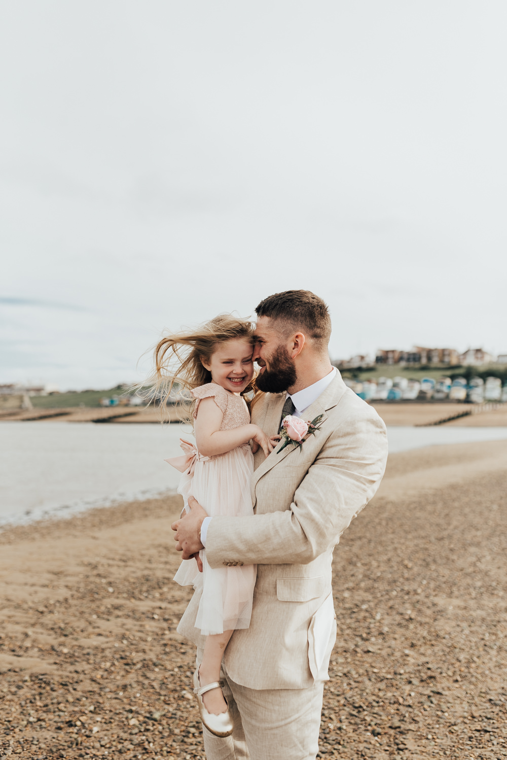 Groom Suit Pale Sand Linen Tweed Tie Pink Rose Buttonhole Loafers Flower Girl Flower Crown Floral Rose Halo Pink Dress Beacon House Wedding Elopement Rebecca Carpenter Photography