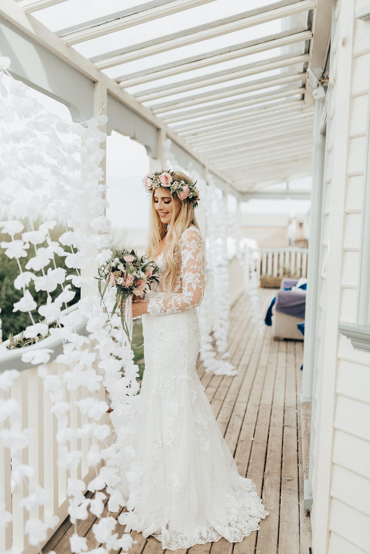 Dress Gown Bride Bridal Lace Sleeves Deep V Neck Beacon House Wedding Elopement Rebecca Carpenter Photography