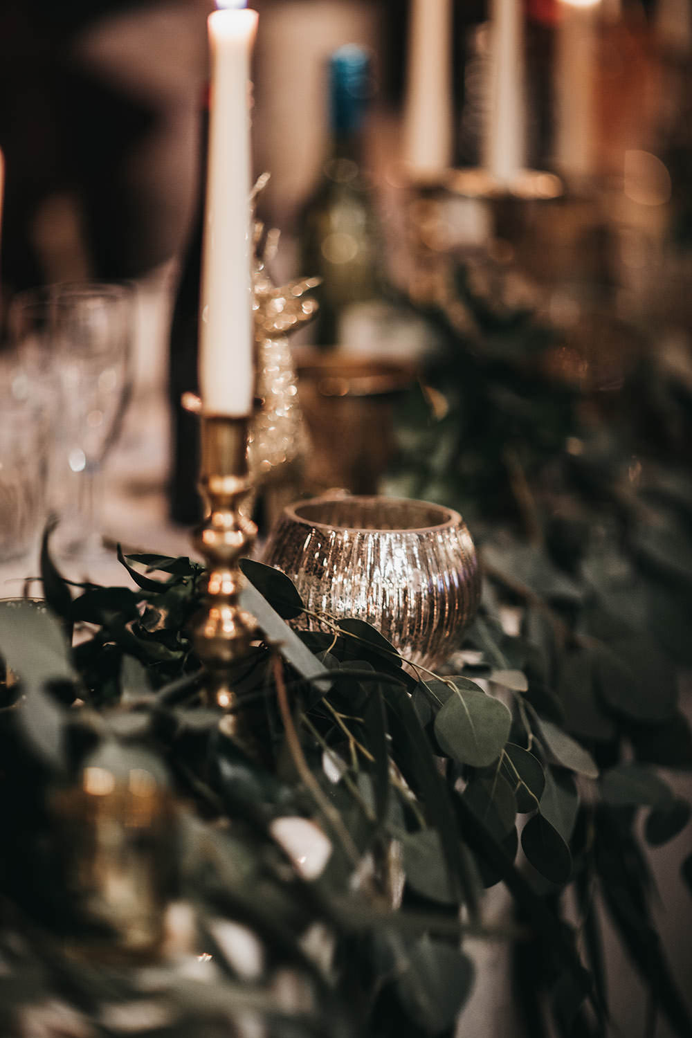 Greenery Table Runner Brass Candlestick Votive Big Barn Wedding Ashley The Vedrines Photography
