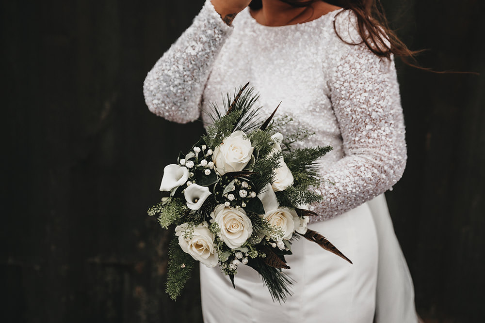 White Rose Pheasant Feather Bouquet Big Barn Wedding Ashley The Vedrines Photography