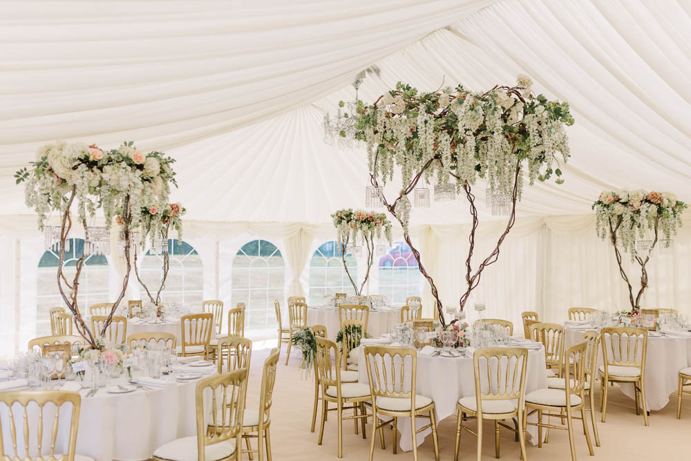 Marquee Wedding Blossom Tree Table Floral Large Centrepiece Brewerstreet Farmhouse Wedding Danielle Smith Photography