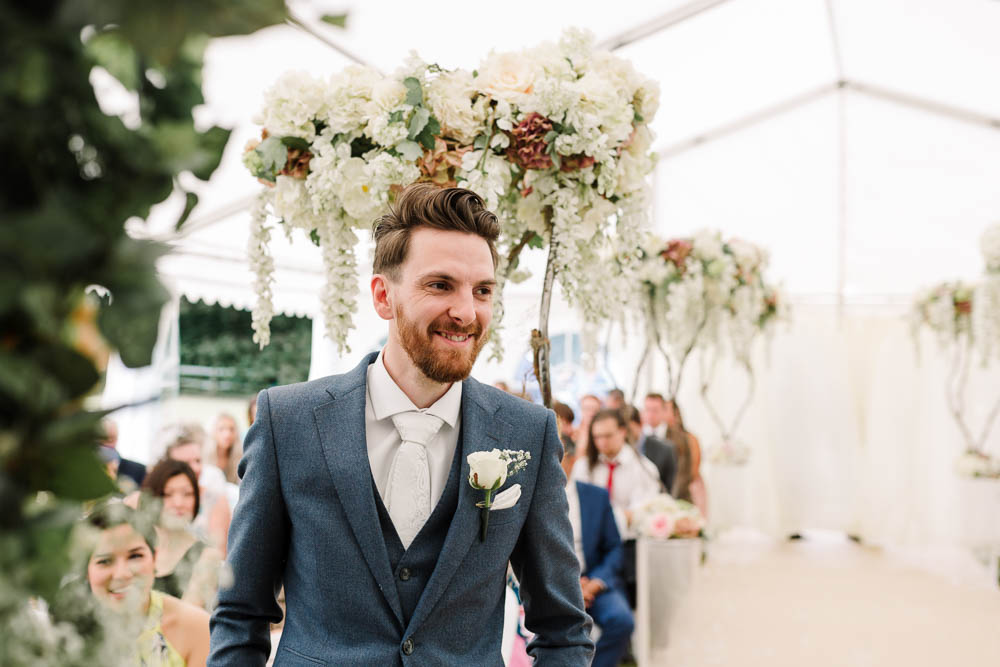 Blue Suit Waistcoat Three Piece Suit Blossom Tree Hanging Flowers Brewerstreet Farmhouse Wedding Danielle Smith Photography