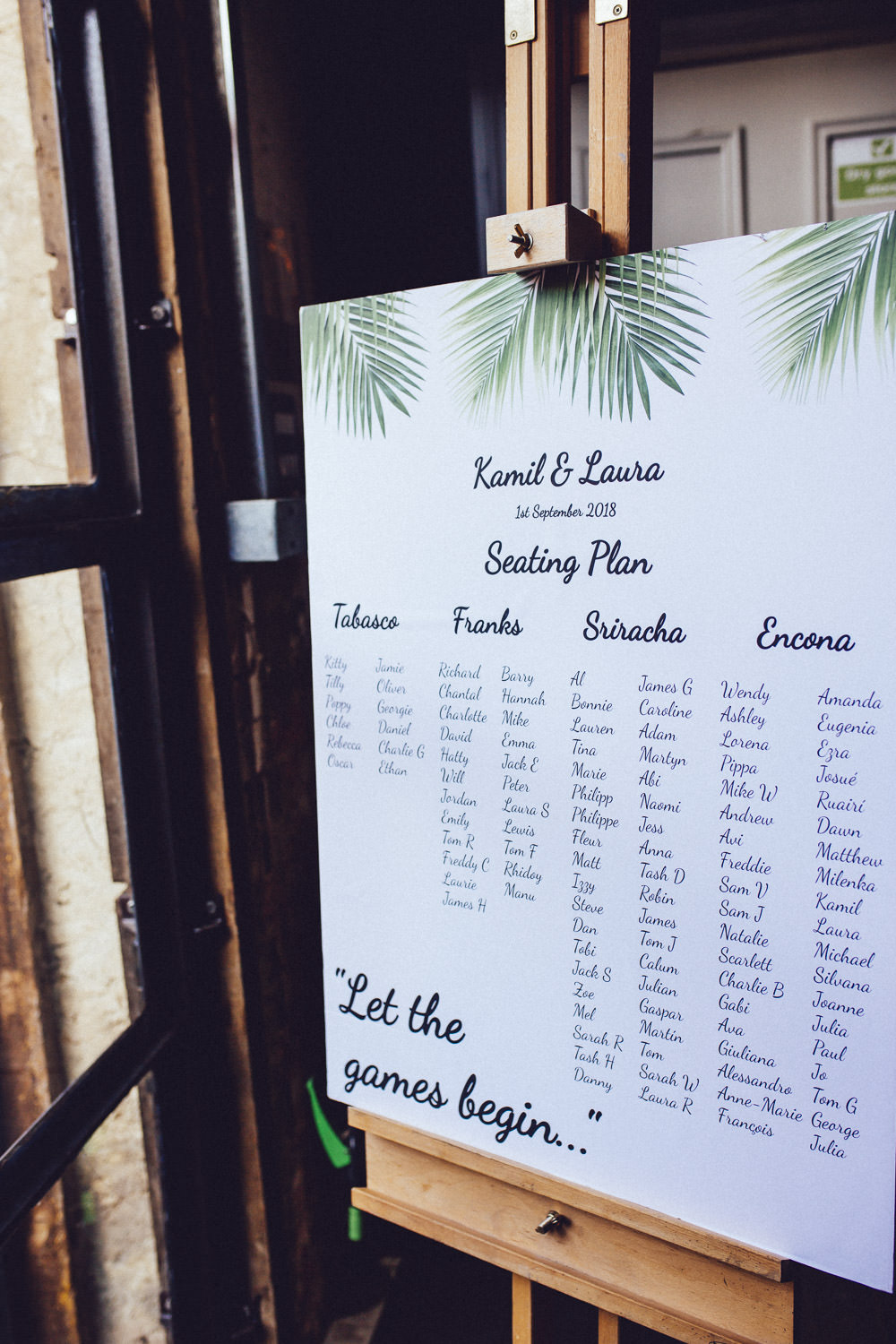 Botanical Tropical Leaf Seating Plan Table Chart Clapton Country Club Wedding Curious Rose Photography