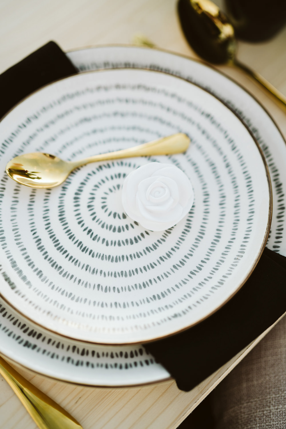 Black White Places Gold Cutlery Clifftop Portugal Wedding Ideas John Barwood Photography