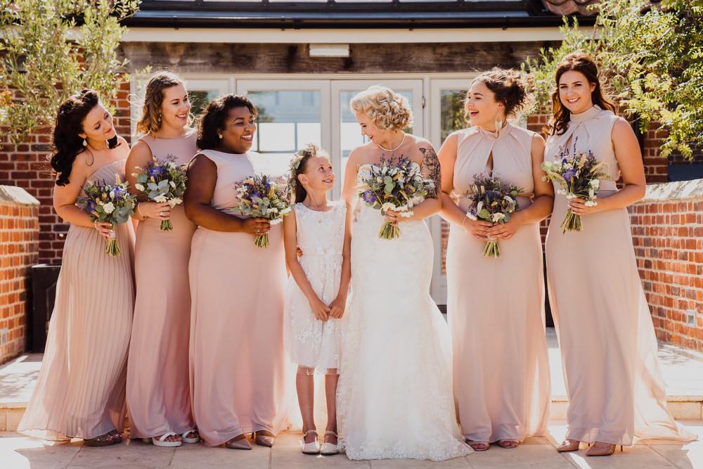 Long Pale Pink Maxi Bridesmaid Dress Dresses Godwick Hall Wedding Rob Dodsworth Photography