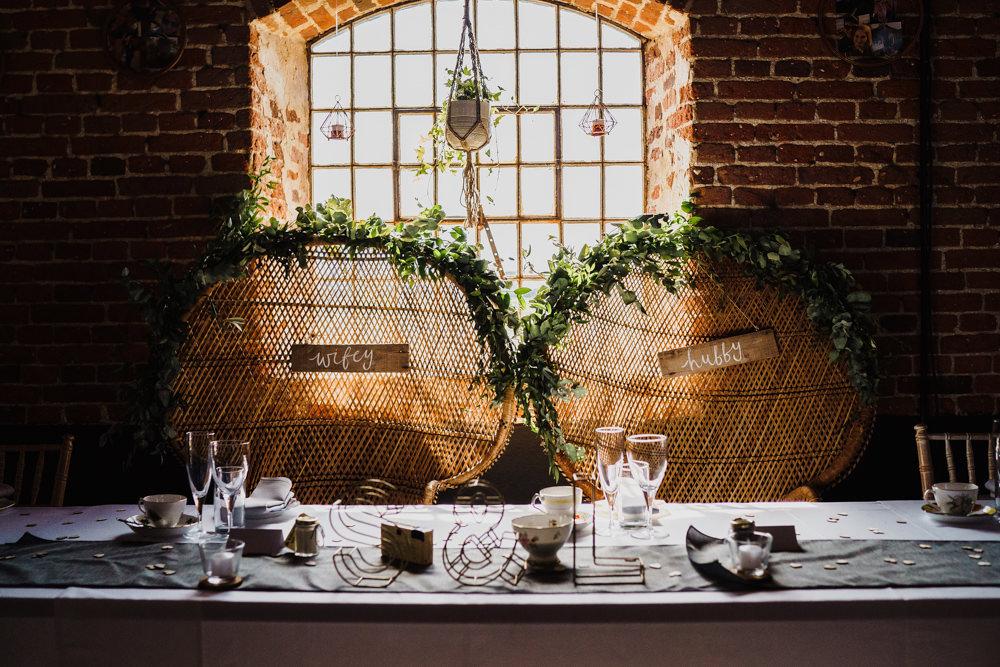 Peacock Chairs Bride Groom Top Table Greenery Decor Godwick Hall Wedding Rob Dodsworth Photography