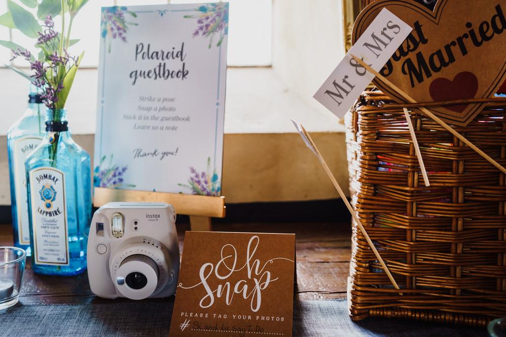 Polariod Guest Book Camera Godwick Hall Wedding Rob Dodsworth Photography