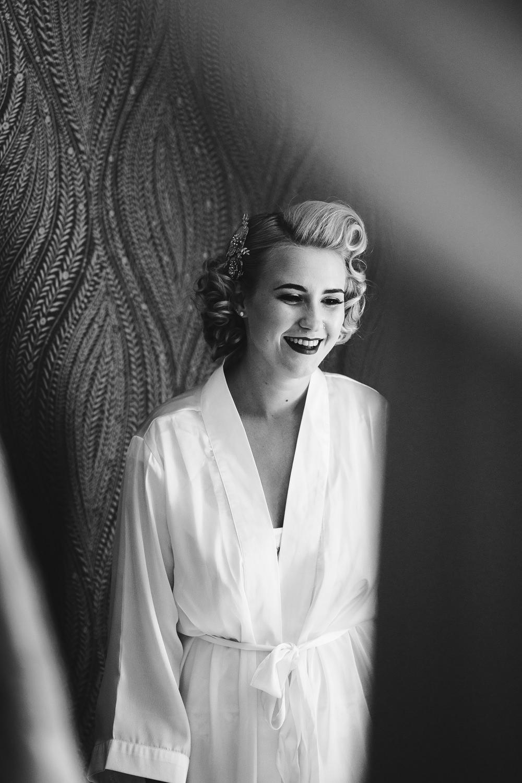 Bride Bridal Dressing Gown Robe Hair Make Up Curls Glamorous Godwick Hall Wedding Rob Dodsworth Photography