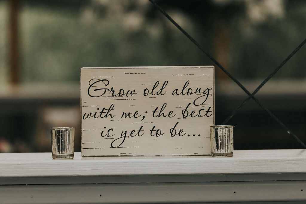 Wooden Sign Love Quote Greenhouse Garden Washington Wedding Beginning and End Photography
