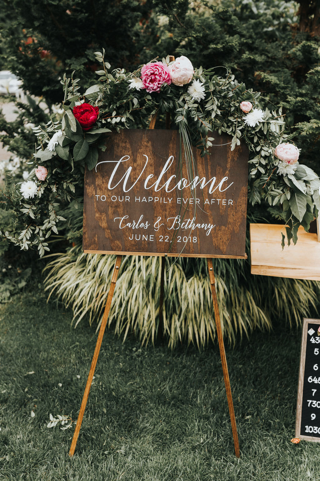 Wooden Calligraphy Welcome Sign Flowers Greenery Greenhouse Garden Washington Wedding Beginning and End Photography
