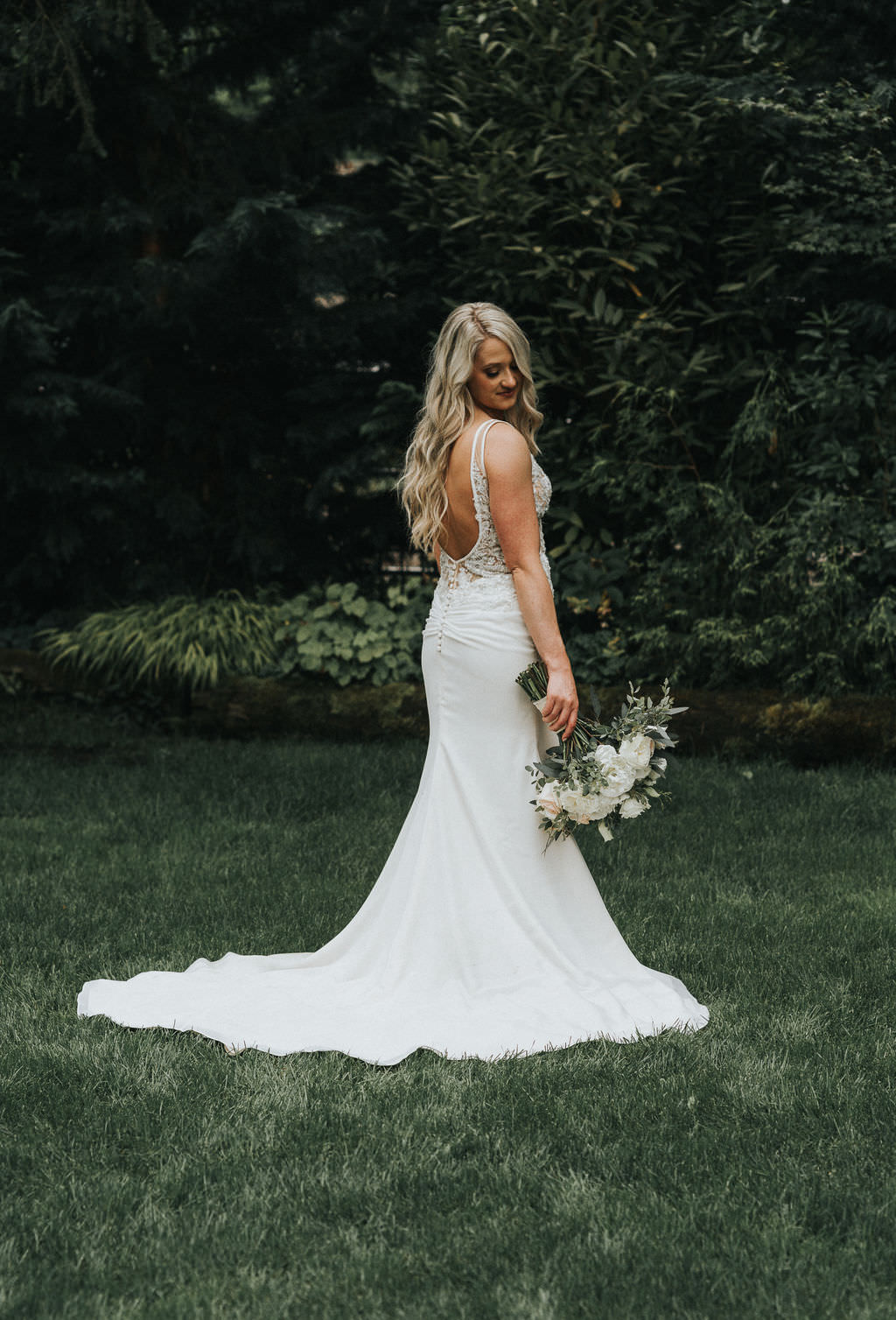 Bride Bridal Dress Gown Train Back Lace Greenhouse Garden Washington Wedding Beginning and End Photography